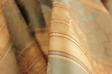 Silk brocade Curtain striped 19th century drape with trim and curtain rings