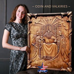 "39""/99cm❤️️ODIN AND VALKIRIES✅Wood carved 3D artwork picture painting icon panel"