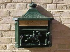 New Antique Victorian GREEN Aluminium Wall Mounted Locking Letter Post Mail Box