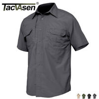 TACVASEN Button Down Men's Short Sleeve Shirts Quick Dry W/ 2 Chest Pockets Tops