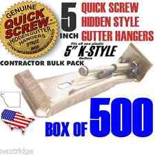 """500 Premium Grade Aluminum 5"""" Inch Quick Screw Hidden Gutter Hangers With Clip"""