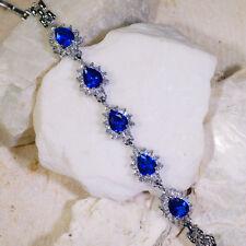 "15Ct Blue Sapphire & White Topaz Victorian Style Silver Bracelet 7"" Gbr155"