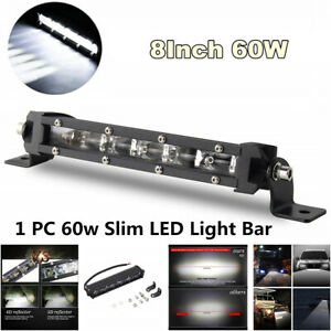1Pcs 8inch 60W Spot Beam Slim LED Work Light Bar for Car SUV ATV Off Road Lamp