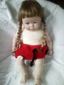 Rare Vintage 1984  Hand-Made Ceramic Baby Doll Signed JEANNETTE 22 inches