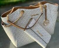 Michael Kors  Vanilla Signature JetSet Travel Chain Shoulder Bag Tote & Wallet
