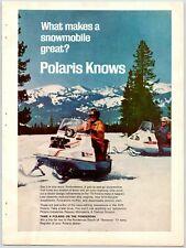 """POLARIS SNOWMOBILE Vintage 1970's 8.25"""" X 11"""" Magazine Ad M11"""