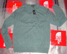 New Mens Express Crew Neck L/S Thin Sweater 100% Cotton $60 Gray Size Large