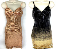 GUESS SL Kara Sequin Dress Colors: Rose Gold/Jet Black Gold, Party/ Cocktail