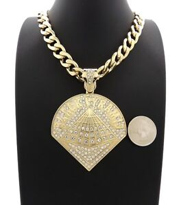 "NEW ICE BLING BLACK PYRAMID PENDANT WITH 20"" 11mm CUBAN CHAIN"