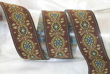 "1.1/2"" (38mm) Brown Multi Design Jacquard Ribbon x 1 yd"