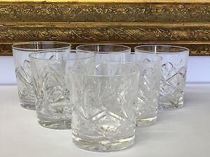 Vintage Set Of 6 SIGNED Thomas Webb Crystal Whiskey Tumbler Glasses