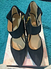 NIB NINE WEST BEESLEY BLACK SUEDE GOLD HARDWARE STILLETTO SHOES SIZE 7M