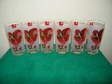 New listing 6 Vintage Red/Gold Frosted Rooster Chicken with Back Weathervane Design Glasses
