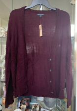 American Eagle Women's L Button Down Cardigan Wine Color New