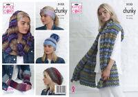 Knitting Pattern Ladies Accessories Wrap Hat Headband & Snood King Cole 5153