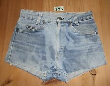 "Women's  Blue LEVI Leather Label  W29"" Denim Cut  Off, Shorts, 11"" rise."