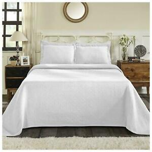 BEAUTIFUL XXXL COZY WHITE MODERN CHIC EXTRA LARGE SOFT BEDSPREAD QUILT SET NEW