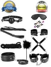 14pcs Black Leather Bondage Sex Set Kit Restraint Flirt Cuff Collar Whip Bedroom