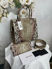 Brahmin Caroline Prowl Ombre Leather Handbag Sazerac Studs Matching Wallet NWTS