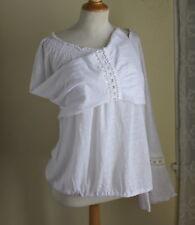 NWT INC White 100% Linen Boho Gypsy Peasant Sweater Linen Knit Shirt Top -Sz 2X