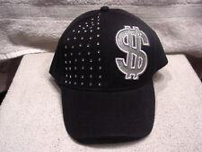 DOLLAR SIGN MONEY BASEBALL CAP HAT #2 ( BLACK )