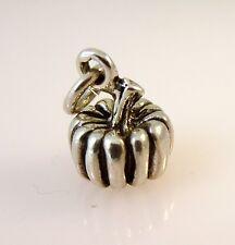 .925 Sterling Silver 3-D PUMPKIN CHARM Pendant NEW 925 Halloween Veggi Food KT25