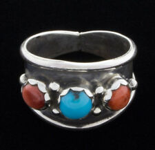 Size 11 1/4, Coral And Turquoise Ring By Navajo Artist Pearlene Spencer