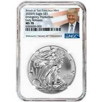 2020 (S) $1 American Silver Eagle NGC MS70 Emergency Production Trump ER Label