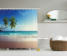 Palm Tree Decor for Bathroom Tropical Island Shower Curtain Extra Long 84 Inch