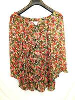 Silhouettes 2X Black Red Blue Floral Shirt Boat Neck 3/4 Sleeve Sheer Blouse 2XL