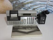 SHARP EL-7000 VINTAGE ELECTRONIC CALCULATOR MEMOWRITER. POWER SUPPLY + MANUAL.