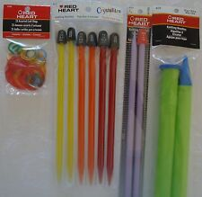 Knitting Needles # 11, 13, 15, 15, 50 & Craft Rings. Red Heart Bundle. All New