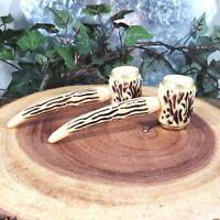 Vintage Stag Horn Corn Cob Pipe Salt & Pepper Shaker Set
