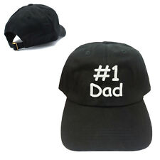 #1 DAD FATHER 100% COTTON BASEBALL CAP WITH TEXT EMBROIDERED