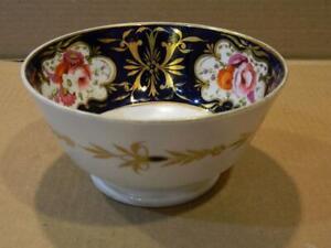 "Antique Hand Painted Imari 6 1/4"" Footed Bowl Cobalt Blue & Gold Trim Flowers"