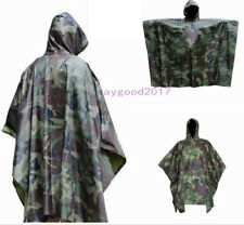 Rain Poncho Waterproof Army Hooded Ripstop Festival Outdoor Camping Hiking Coat