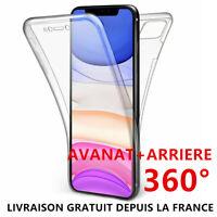 Coque 360°iPhone 11 Pro Max,Xs,X,Xr 7/6S/8 Transparente Antichoc Silicone Bumper