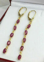 4.50Ct Oval Cut Red Ruby Long Dangle Leverback Earrings 14k Yellow Gold Over