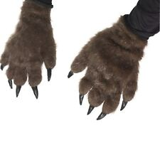 Adult Hairy Werewolf Wolf Monster Hands Claws Paws Halloween Fancy Dress Gloves