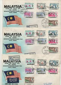 Malayan States 1965 definitive complete set 13 first day covers fine used stamps