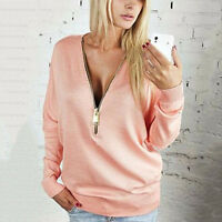 Women V-Neck Long Sleeve Hoodies Zip Up Ladies Jumper Pullover Blouse Tops Shirt