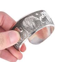 Geschnitzter Elefant Tibetan Tibet Silber Totem Armreif Manschette Armband GeXUI