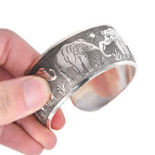 Carved Elephant Tibetan Tibet Silver Totem Bangle Cuff Bracelet Gift Jewelry JR