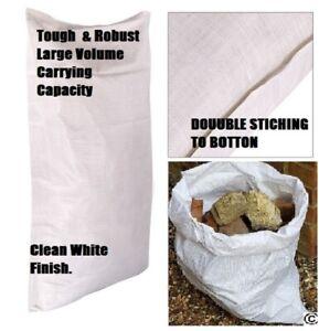EXTRA LARGE WHITE WOVEN HEAVY DUTY DURABLE REUSABLE  RUBBLE BAGS/SACK 60cm x90cm