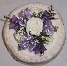 wedding flower ivory & lilac cake topper bouquet