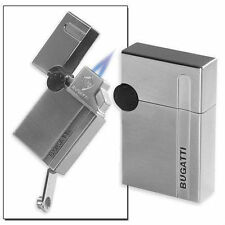 Bugatti B-1001 Dual Torch Cigar Lighter & Punch - Silver - NEW