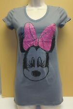 MINNIE MOUSE sketched BIG PINK GLITTER BOW GRAPHICS XS Gray t shirt short sleeve
