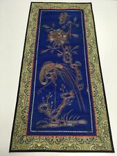 "Oriental Antique Silk Tapestry 25"" x 12"" Standing Ornate Bird w Floral Accent"