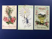 3 Novelty 1900s Antique Postcards Add-Ons. For Collectors. Nice w Value