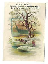 Old Victorian Trade Card Klinefelters Grocery Store Tea Coffee York PA Embossed